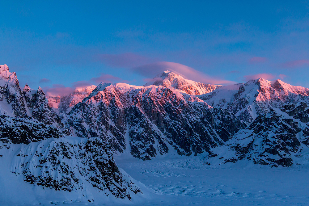 Gorges clear view of Denali the rooster Comb, Denali and the South Buttress with the sunrise.