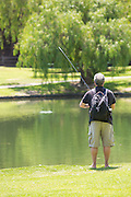 Man Fishing at Ralph B. Clark Regional Park in Buena Park