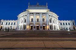 THEMENBILD - Burgtheater waehrend der Blauen Stunde. Es liegt am Universitaetsring, frueher Dr.-Karl-Lueger-Ring, und eroeffnete erstmals am 14. Oktober 1888. Es gilt als das oesterreichische Nationaltheater. Das Bild wurde am 15. April 2013 aufgenommen. im Bild Burgtheater // THEME IMAGE FEATURE - Burgtheater in Vienna at Twilight Hour, which is at the viennese ring road and opened on 14th, October 1888. The image was taken on april, 15th, 2013. Picture shows Burgtheater , AUT, EXPA Pictures © 2013, PhotoCredit: EXPA/ Michael Gruber