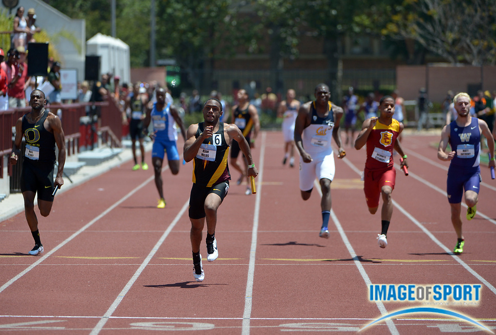 May 12, 2013; Los Angeles, CA, USA; Ryan Milus runs the anchor leg on the Arizona State 4 x 400m relay that won in 39.41 in the 2013 Pac-12 Championships at Cromwell Field.