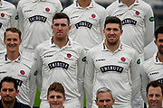 Craig Overton (Left) and his brother Jamie Overton (Right) during team shot with the Specsavers County Championship kit at the club media day at Somerset County Cricket Club at the Cooper Associates County Ground, Taunton, United Kingdom on 11 April 2018. Picture by Graham Hunt.
