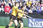 Peter Spurrier Sports  Photo.email pictures@rowingpics.com.Tel 44 (0) 7973 819 551..Heineken European Cup.Bath v Swansea.Tom Voyce, is congratulated by team  captain, Dan Lyle.[Mandatory Credit, Peter Spurier/ Intersport Images].
