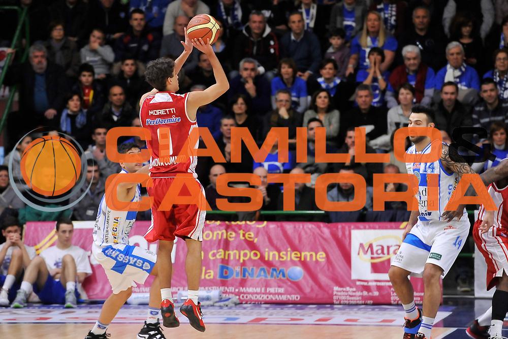 DESCRIZIONE : Campionato 2014/15 Dinamo Banco di Sardegna Sassari - Giorgio Tesi Group Pistoia<br /> GIOCATORE : Davide Moretti<br /> CATEGORIA : Tiro Tre Punti Controcampo<br /> SQUADRA : Giorgio Tesi Group Pistoia<br /> EVENTO : LegaBasket Serie A Beko 2014/2015<br /> GARA : Dinamo Banco di Sardegna Sassari - Giorgio Tesi Group Pistoia<br /> DATA : 01/02/2015<br /> SPORT : Pallacanestro <br /> AUTORE : Agenzia Ciamillo-Castoria / Luigi Canu<br /> Galleria : LegaBasket Serie A Beko 2014/2015<br /> Fotonotizia : Campionato 2014/15 Dinamo Banco di Sardegna Sassari - Giorgio Tesi Group Pistoia<br /> Predefinita :