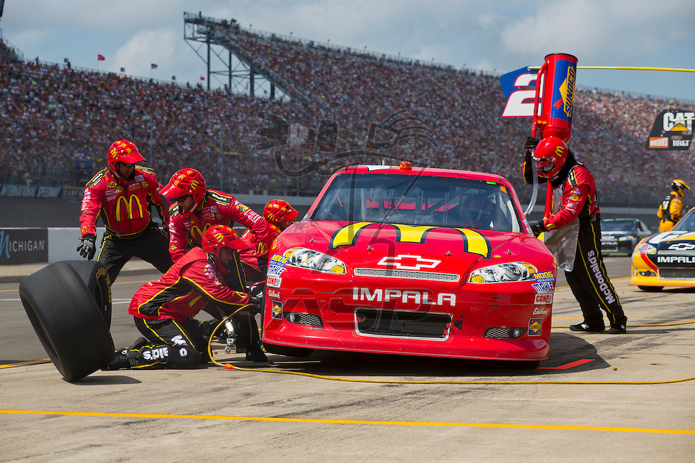BROOKLYN, MI - JUN 17, 2012:  Jamie McMurray (1) brings in his McDonalds Chevrolet for service during the Quicken Loans 400 at the Michigan International Speedway in Brooklyn, MI.