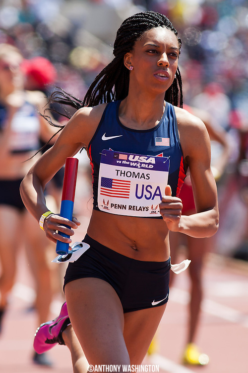 LaTavia Thomas with the USA Blue team competes in the USA vs. the World Women 4x800 during the 119th Penn Relays on Saturday, April 27, 2013 in Philadelphia, PA.