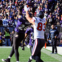 15 January 2012: Baltimore Ravens free safety Ed Reed (20) breaks up a pass intended for Houston Texans wide receiver Kevin Walter (83) in the first quarter of the Divisional Playoff at M&T Bank Stadium in Baltimore, MD. The Ravens defeated the Texans 20-13 to advance to the AFC Championship game..