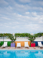 A colourful tropical poolside in Belize City, Belize.