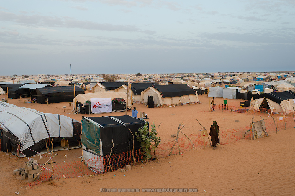 A view of the Médecins Sans Frontières (MSF) health centre at the Mbera camp for Malian refugees in Mauritania on 3 March 2013.