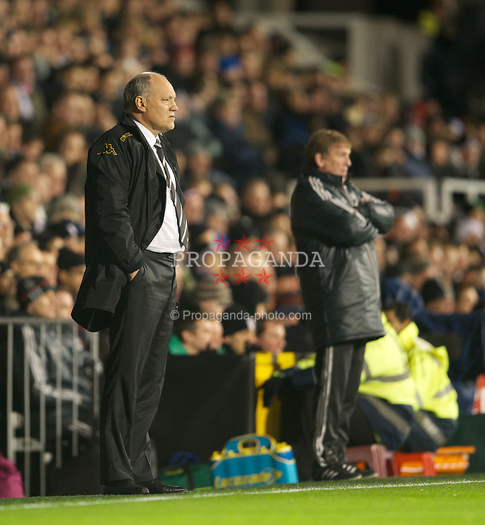 LONDON, ENGLAND - Monday, December 5, 2011: Fulham's manager Martin Jol and Liverpool's manager Kenny Dalglish during the Premiership match at Craven Cottage. (Pic by David Rawcliffe/Propaganda)