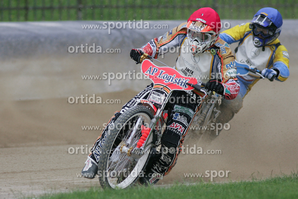Claus Vissing of Denmark and Alexey Karchenko of Russia at Speedway European Championship race semi finals of individuals, on June 19, 2010, in Sportni park Ilirije, Ljubljana, Slovenia. (Photo by Urban Urbanc / Sportida)