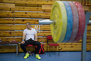Marcin Dolega from Poland (Zawisza Bydgoszcz; category 105 kg) during training session two weeks before weightlifting IWF World Championships Wroclaw 2013 at the Olympic Sports Centre in Spala on October 08, 2013.<br /> <br /> Poland, Warsaw, September 16, 2013<br /> <br /> Picture also available in RAW (NEF) or TIFF format on special request.<br /> <br /> For editorial use only. Any commercial or promotional use requires permission.<br /> <br /> Mandatory credit:<br /> Photo by © Adam Nurkiewicz / Mediasport