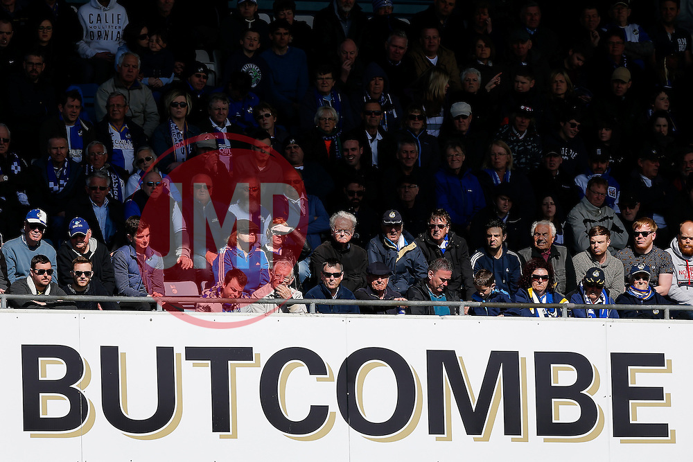 Bristol Rovers fans watch on in the sun - Photo mandatory by-line: Rogan Thomson/JMP - 07966 386802 - 11/04/2015 - SPORT - FOOTBALL - Bristol, England - Memorial Stadium - Bristol Rovers v Southport - Vanarama Conference Premier.
