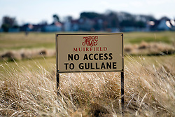 Sign at Muirfield Golf Course in Gullane, East Lothian, Scotland, United Kingdom