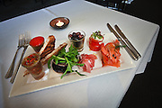 Details of Starters at fine dining restaurant meals. Contemporary Cuisine,