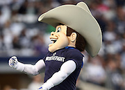 Rowdy, the Dallas Cowboys mascot, cheers as he rides around the field before the NFL week 18 NFC Wild Card postseason football game against the Detroit Lions on Sunday, Jan. 4, 2015 in Arlington, Texas. The Cowboys won the game 24-20. ©Paul Anthony Spinelli