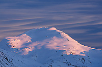 Winter sunset over  Mount Rohr, Coast Mountains British Columbia