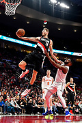 PORTLAND, OREGON - JANUARY 07: Jake Layman #10 of the Portland Trail Blazers gets the bucket and the foul at Moda Center on January 07, 2019 in Portland, Oregon. (Photo by Alika Jenner/Getty Images)