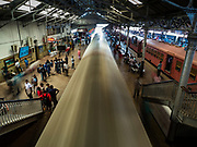 07 OCTOBER 2017 - COLOMBO, SRI LANKA: A train leaves the Fort Station in Colombo. The Fort Station is Colombo's main train station and serves as the hub of Sri Lanka's train system. The station opened in 1917 and is modeled after Manchester Victoria Station.    PHOTO BY JACK KURTZ