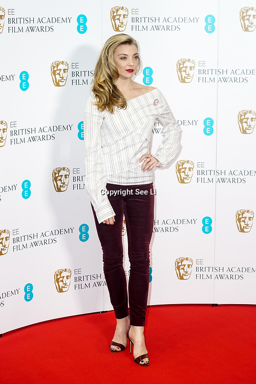 London, England, UK. 9th January 2018.Natalie Dormer attend EE British Academy Film Awards Nominations, London, UK