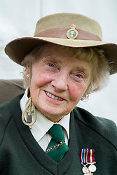 Hull Veterans Weekend Women's Land Army Veteran Iris Newbould East Park on Sunday<br /> 25-26 July 2015<br />  Image © Paul David Drabble <br />  www.pauldaviddrabble.co.uk
