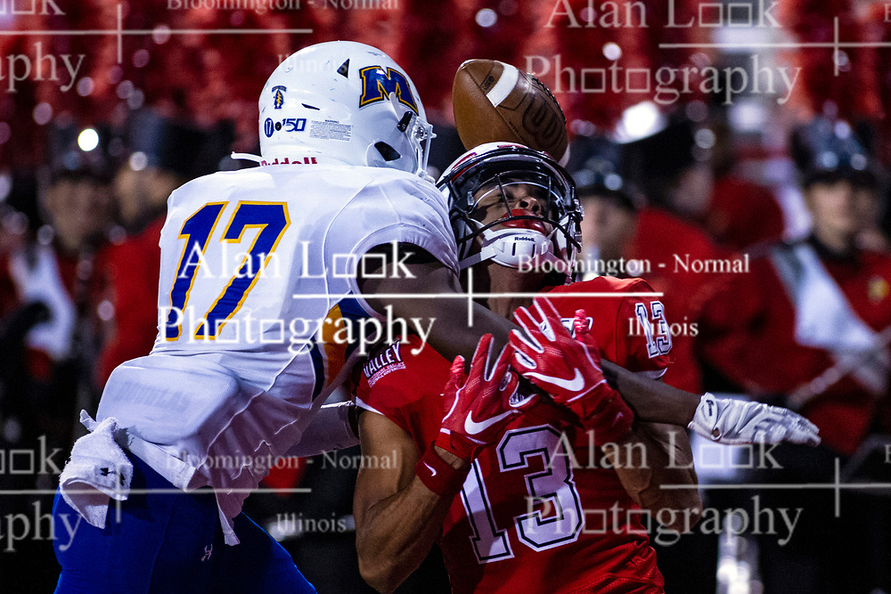 NORMAL, IL - September 07: Josh Holland knocks a pass away from Braxton Haley during a college football game between the ISU (Illinois State University) Redbirds and the Morehead State Eagles on September 07 2019 at Hancock Stadium in Normal, IL. (Photo by Alan Look)