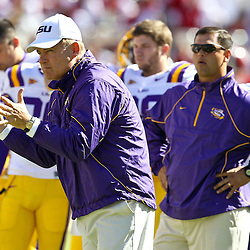 November 6, 2010; Baton Rouge, LA, USA; LSU Tigers head coach Les Miles on the field prior to kickoff of a game against the Alabama Crimson Tide at Tiger Stadium.  Mandatory Credit: Derick E. Hingle