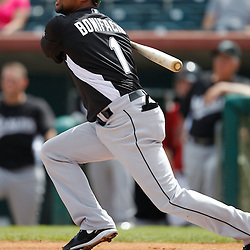 March 3, 2011; Kissimmee, FL, USA; Florida Marlins third baseman Emilio Bonifacio (1) during a spring training exhibition game against the Houston Astrosa at Osceola County Stadium.  Mandatory Credit: Derick E. Hingle