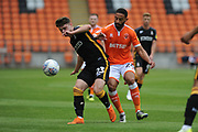 Blackpool Midfielder, Liam Feeney (24) and Bradford City Defender, Connor Wood (23) during the EFL Sky Bet League 1 match between Blackpool and Bradford City at Bloomfield Road, Blackpool, England on 8 September 2018.