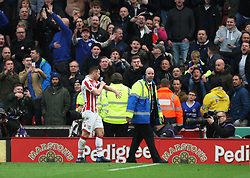 Phillip Bardsley of Stoke City (L) leaves the pitch after being sent off - Mandatory by-line: Jack Phillips/JMP - 18/03/2017 - FOOTBALL - Bet365 Stadium - Stoke-on-Trent, England - Stoke City v Chelsea - Premier League