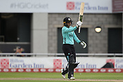 Sarah Taylor (Wicket Keeper) of the Surrey Stars reaches 50 during the Women's Cricket Super League match between Lancashire Thunder and Surrey Stars at the Emirates, Old Trafford, Manchester, United Kingdom on 7 August 2018.