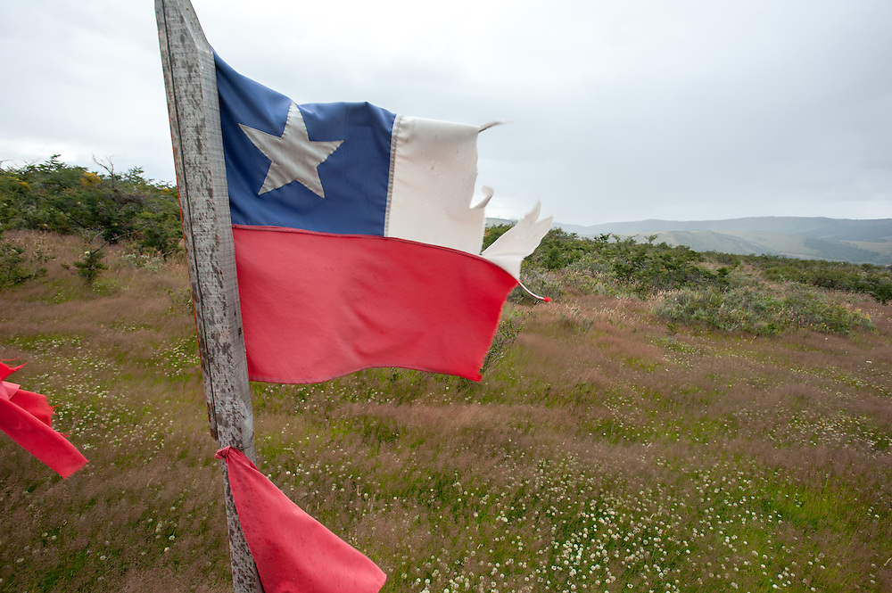 torn Chilean flag, patagonia Chile