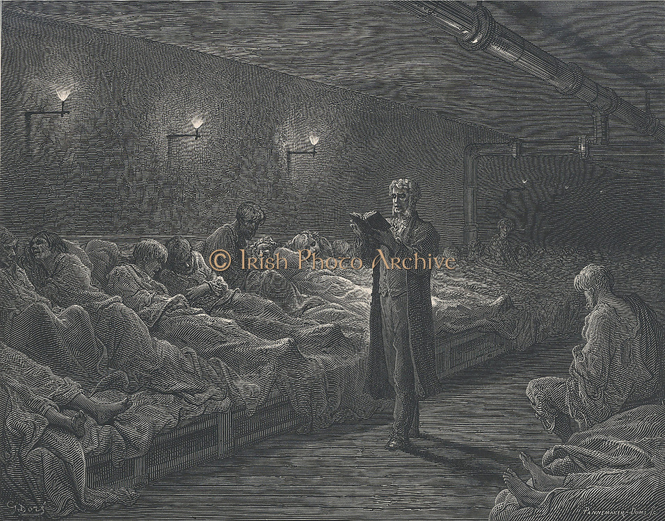 Scripture Reader in a Night Shelter': Destitute men lying on the long communal bed slope in a London night shelter listening to the nightly reading from the 'Bible' before the fish-tail gas lights were extinguished. From  Gustave Dore and Blanchard Jerrold 'London: A Pilgrimage', London, 1872.