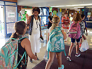 School Principal Michelle Wiley high fives students as they arrive on the first day of classes at West Rockhill Elementary School Monday August 29, 2016 in West Rockhill Township, Pennsylvania.  (Photo by William Thomas Cain)