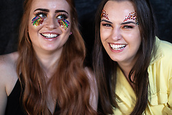 © Licensed to London News Pictures . 25/08/2019. Manchester, UK. CHARLOTTE GARDNER (24) and REMI KERSEY (24) both from Chelmsford . Fans of Ariana Grande and other musical acts gather at Mayfield Depot ahead of performances this evening . Manchester's annual Gay Pride festival , which is the largest of its type in Europe , celebrates LGBTQ+ life . Photo credit: Joel Goodman/LNP