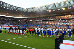 England and France players line up prior to the match