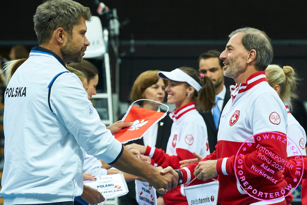 (L) Tomasz Wiktorowski - captain national team and (R)  Heinz Guenthardt - captain national team all from Switzerland while opening ceremony during the Fed Cup / World Group Play Off tennis match between Poland and Switzerland on April 18, 2015 in Zielona Gora, Poland<br /> Poland, Zielona Gora, April 18, 2015<br /> <br /> Picture also available in RAW (NEF) or TIFF format on special request.<br /> <br /> For editorial use only. Any commercial or promotional use requires permission.<br /> <br /> Adam Nurkiewicz declares that he has no rights to the image of people at the photographs of his authorship.<br /> <br /> Mandatory credit:<br /> Photo by &copy; Adam Nurkiewicz / Mediasport