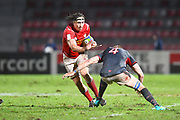 Canadian player Kyle Baillie fends off a tackle in the second half during the Rugby World Cup qualifier between Hong Kong and Canada at Stade Delort, Marseilles, France on 23 November 2018. Picture by Ian  Muir.