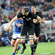 Great pass, led to All Blacks try.  The New Zealand All Blacks defeated Manu Samoa 15's 83-0 at Eden Park, Auckland, New Zealand.  Photo by Barry Markowitz, 6/16/17
