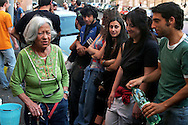 Roma 19 Maggio 2007..Carla la mamma di Valerio Verbano, ucciso dai fascisti nella sua abitazione nel 1980,davanti alla lapide che ricorda il figlio. .Carla's mother Valerio Verbano, killed by fascists in his home in 1980, in front the headstone that recalls the son..http://it.wikipedia.org/wiki/Valerio_Verbano.