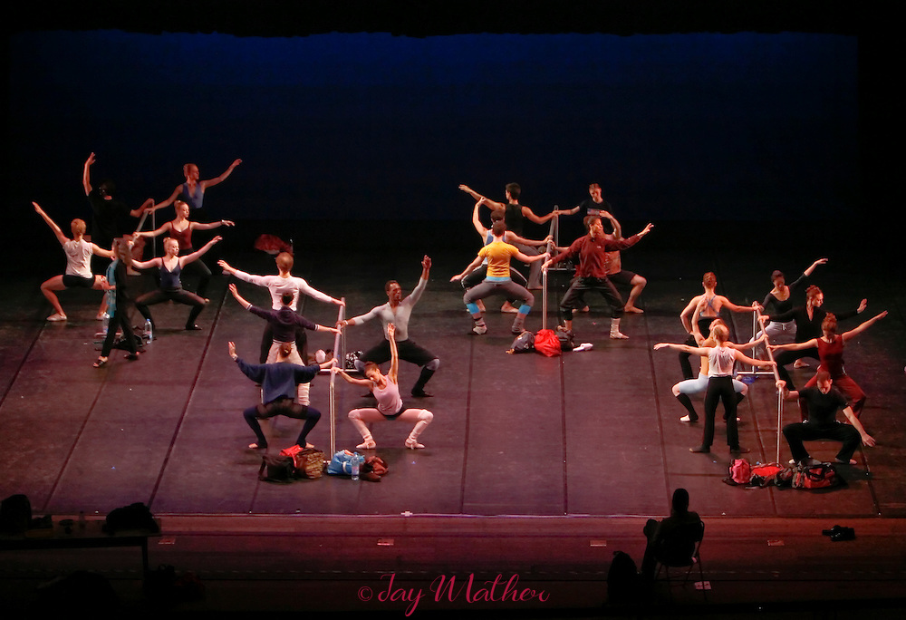 Class for the Sacramento Ballet begins with exercises at the barre set on the stage of the Majestic Theatre in Shanghai.  Friday, May 4, 2007.
