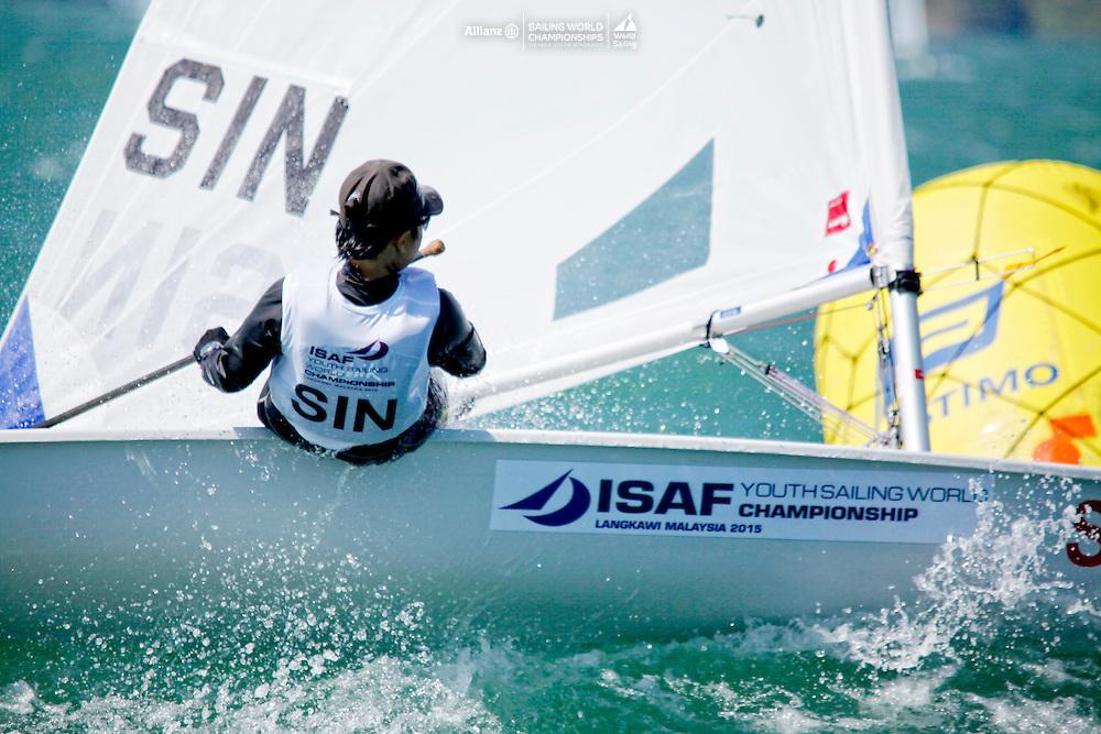 SingaporeLaser RadialWomenHelmSINJC8JiayiChua<br />Day1, 2015 Youth Sailing World Championships,<br />Langkawi, Malaysia