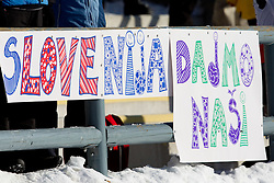 Fans posters during the Men 20 km Individual of the e.on IBU Biathlon World Cup on Thursday, December 16, 2010 in Pokljuka, Slovenia. The fourth e.on IBU World Cup stage is taking place in Rudno Polje - Pokljuka, Slovenia until Sunday December 19, 2010.  (Photo By Vid Ponikvar / Sportida.com)