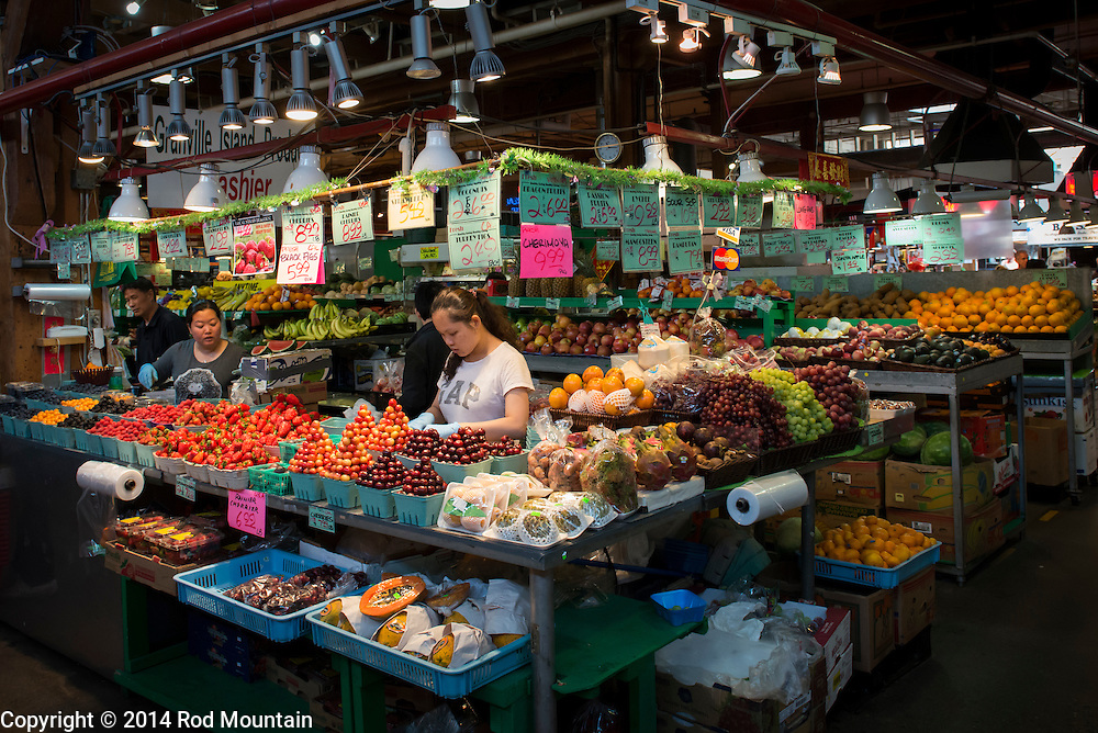 Pictured is one of the many shops offering fresh fruits and vegetables at Granville Island's Public Market. Vancouver, BC. <br /> <br /> Photo: &copy; Rod Mountain<br /> <br /> http://www.rodmountain.com