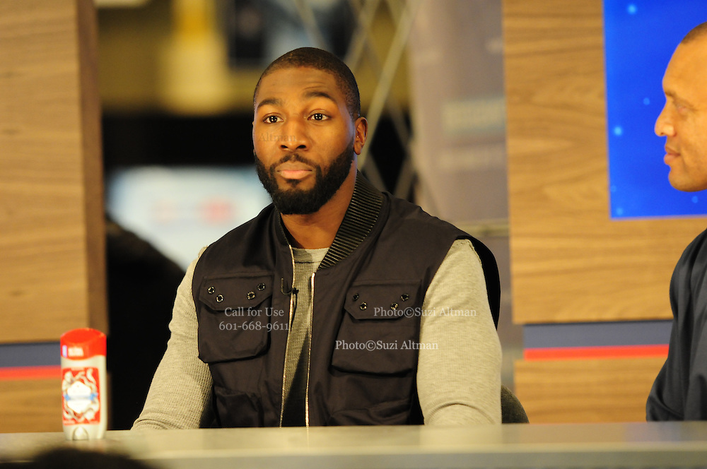 """2/1/13 New Orleans LA.-NFL Super Bowl XLV11 Radio Row at the Media Center Greg Jennings WR with the Packers sports some """"old Spice""""  around Radio Row.Photo©Suzi Altman"""