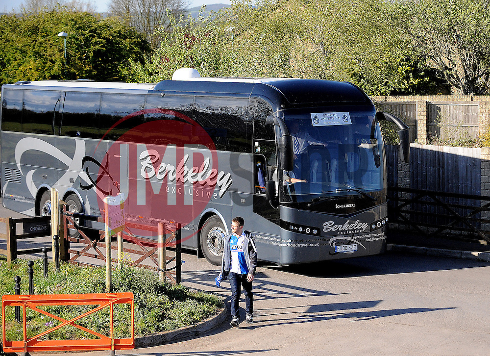 Bristol Rovers arrive for the game - Photo mandatory by-line: Neil Brookman/JMP - Mobile: 07966 386802 - 29/04/2015 - SPORT - Football - Nailsworth - The New Lawn - Forest Green Rovers v Bristol Rovers - Vanarama Football Conference
