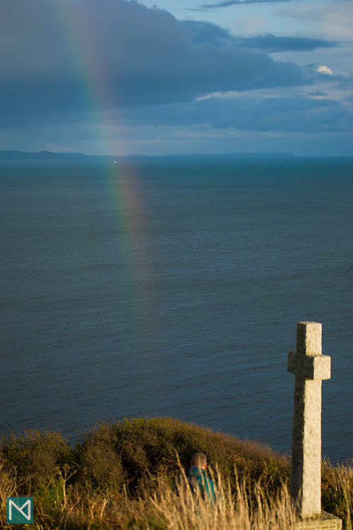 A stone cross on the coastal walk between Looe and Polperro, Cornwall