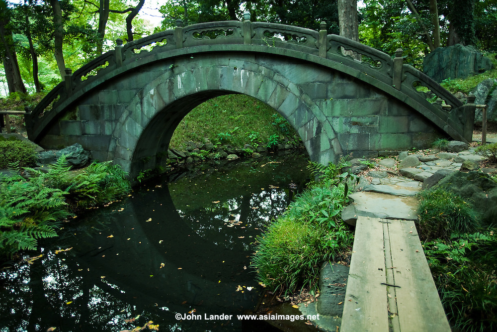 "Engetsukyo Bridge, or ""full moon bridge"" built in the Chinese style at Koishikawa Korakuen Garden in Tokyo.  It has this name because a full moon is formed by the arch of the bridge and its reflection in the pond beneath."