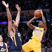 05 December 2016: Los Angeles Lakers guard Louis Williams (23) takes a jump shot over Utah Jazz forward Trey Lyles (41) during the Utah Jazz 107-101 victory over the Los Angeles Lakers, at the Staples Center, Los Angeles, California, USA.