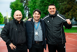 Sinisa Brkic, director of Triglav, Beno Fekonja, president and Dejan Doncic, head coach of Triglav celebrate after the football match between NK Triglav Kranj and NK Domzale in 35th Round of Prva liga Telekom Slovenije 2018/19, on May 22nd, 2019, in Sports park Kranj, Slovenia. Photo by Vid Ponikvar / Sportida