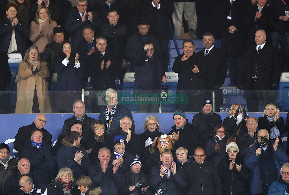 Leicester City vice-chairman Aiyawatt Srivaddhanaprabha and chairman Vichai Srivaddhanaprabha celebrate as the players walk off after the Premier League match at the King Power Stadium, Leicester.